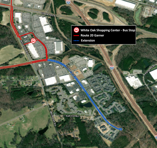 Map of Timber Dr in Garner with road highlighted to show the proposed extension
