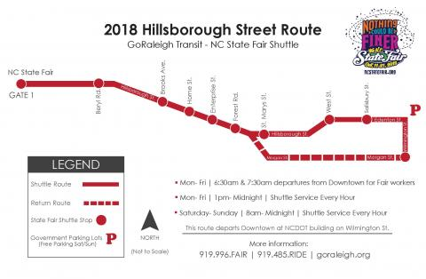 Hillsborough Street route map