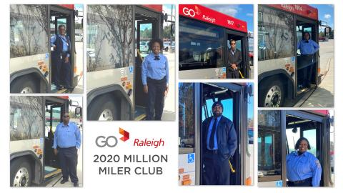 Collage of 7 men and women in GoRaleigh operator uniforms standing in front of a bus