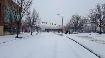 GoRaleigh Bus in snow Cameron Village