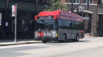 R-Line Bus at Stop