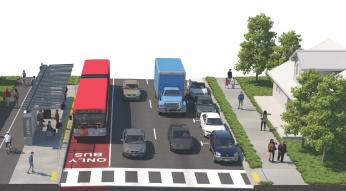 """Artist render of Bus Rapid Transit. Red dedicated """"Bus Only"""" lane with bus picking up passengers from bus stop."""